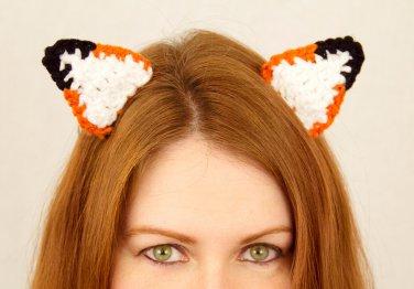 Fox Ear Clips, 2 Crochet Fox Ears on Snap Clips