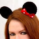 Mouse Ear Clips, 2 Crochet Black Ears on Snap Clips