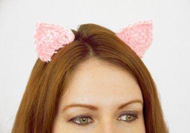 Pig Ear Clips, 2 Crochet Pink Ears on Snap Clips