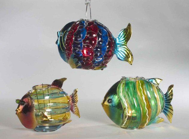 Glass && Metal Fish Votive Holders