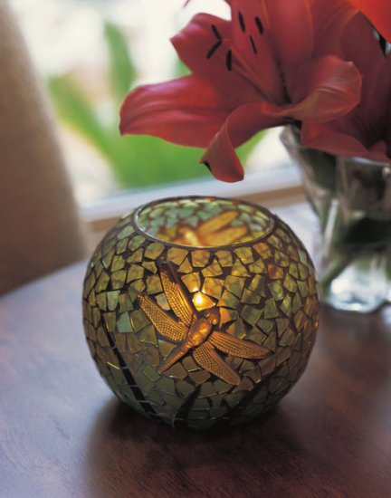 Round Dragonfly Candleholder
