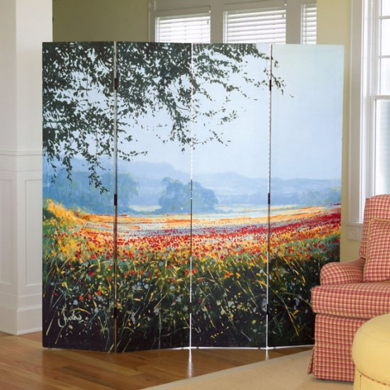 Poppies 4-Fold Floor Screen