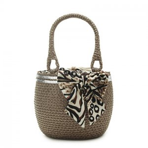Paillette Brown Straw Handbag BEACH BAG handmade tote