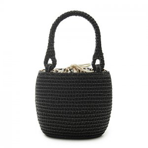 Paillette Black Straw Handbag BEACH BAG handmade tote