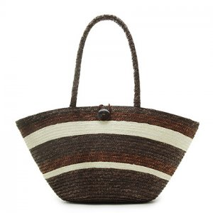 Coffee Stripe STRAW ShoulderBag SUMMER HandBAG Tote