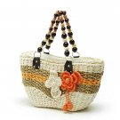 Graceful White Orange STRAW SHOULDERBAG HANDBAG TOTE Flowers