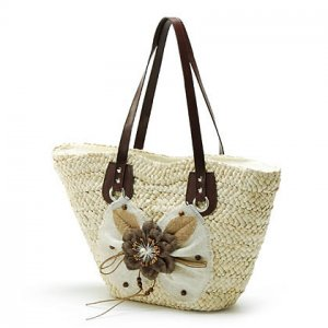 Bow Flower White STRAW SHOULDERBAG HANDBAG TOTE