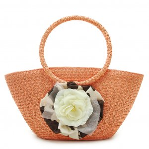 Summer Flower Orange STRAW SHOULDERBAG TOTE HANDBAG
