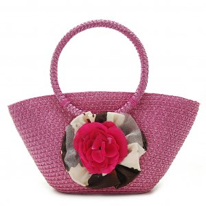 Summer Flower Pink STRAW SHOULDERBAG TOTE HANDBAG