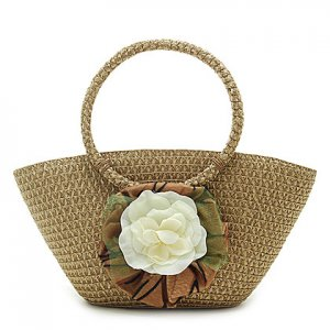 Summer Flower Brown STRAW SHOULDERBAG