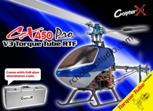 CopterX CX 450PRO-TT V3 Torque Tube Version 2.4GHz RTF Radio Control RC Helicopter