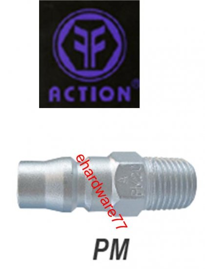 "ACTION Taiwan Pneumatic Quick Coupler 20PM 1/4"" PT Male"