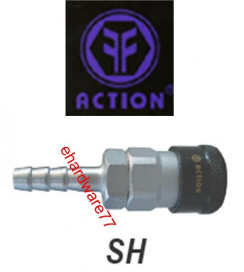 "ACTION Taiwan Pneumatic Quick Coupler 20SH 5/16"" Hose Barb"