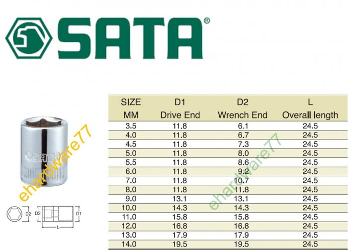 """SATA - 9.0mm (Metric) Socket 1/4"""" DR."""
