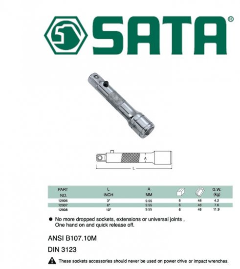 "SATA 3/8"" DR. Locking Extension Bar 6"""
