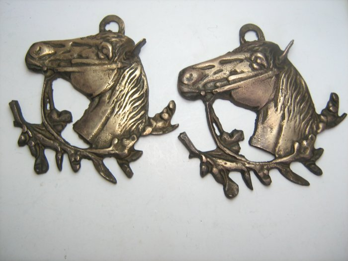 Antique Vintage Solid Brass Pair of Horse Head Plaque