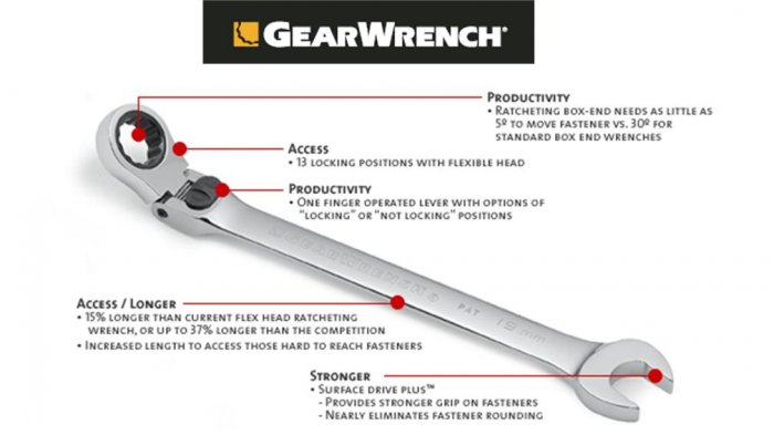Grearwrench - XL Locking Flex Combination Ratcheting Wrench 9/16""