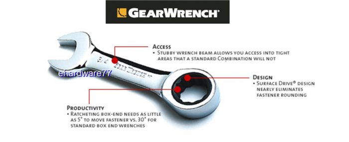 Grearwrench - Stubby Combination Ratcheting Wrench 3/8""