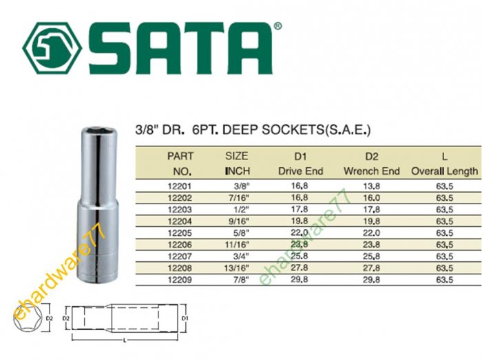 "SATA - 3/8"" DR. Deep Socket 13/16"""