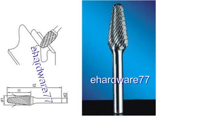 CARBIDE BURR - Conical Round Nose 6mm Shank x 9.5mm Dia. x 27mm Cut L