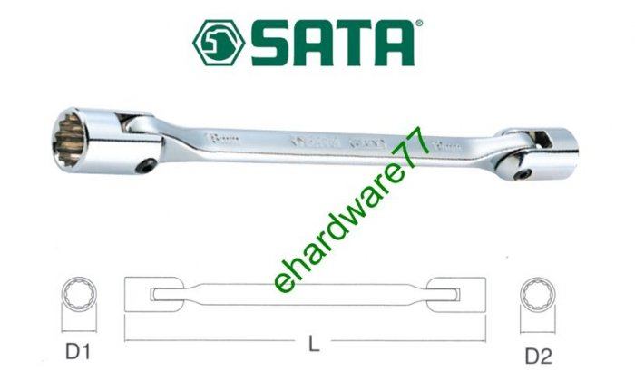 SATA - Double End Swivel Socket Wrench 14mmx15mm (47504)