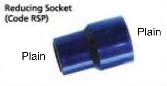 "ABS Reducer Socket 20mm (3/4"") x 25mm (1"")"