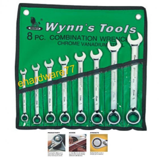 WYNNS - 8pcs Gear Reversible Ratcheting Wrench Set