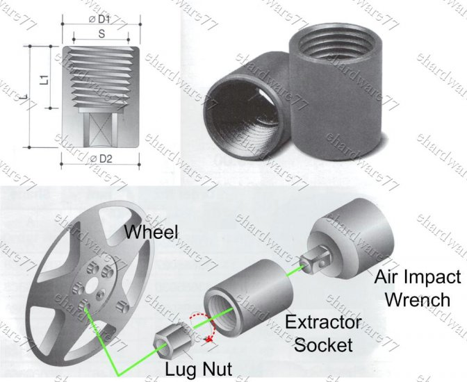 Wheel Lug Nut Extractor Impact Socket 18.5mm (69782091)