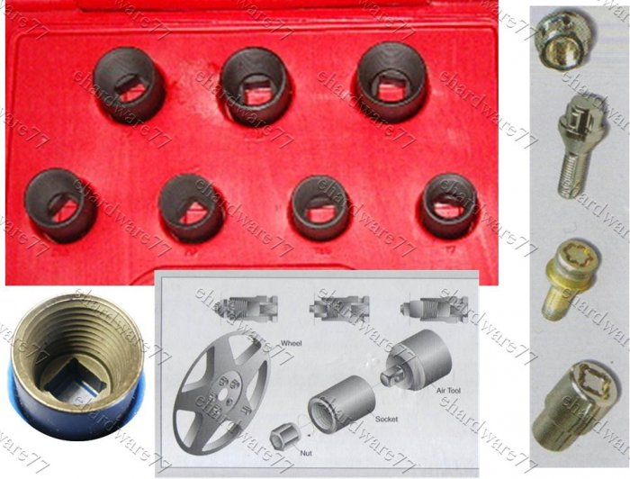 7pc Damaged Locked Nuts Impact Socket Remover Set (69523071)