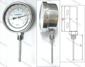 Bimetal Thermometer Bottom 0°C to +120°C (BT6612)