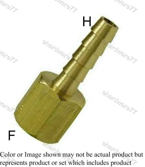 "Brass Fitting - Female Barb 1/4"" Barb x 1/8"" Female Thread (DFH21)"