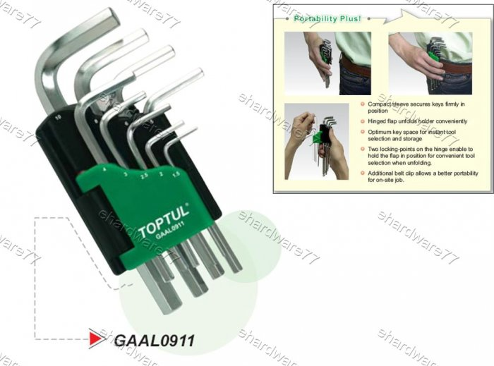 TOPTUL 9pcs Short Hex Key Metric Wrench Set (GAAL0910)