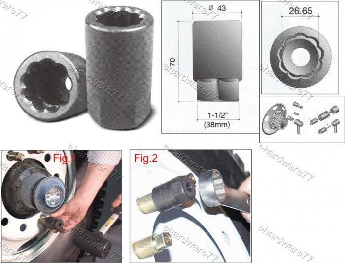 DUAL WHEEL LUG STUD REMOVER IMPACT RIB SOCKET (26.65mm) (69776050)