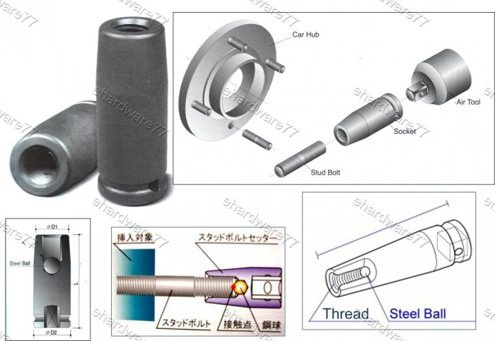"DOUBLE THREAD END STUD BOLT INSTALL IMPACT SOCKET 1/2"" DR M12 X 1.25P (69782025)"