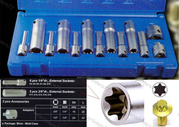 Action 13Pcs E-Torx Deep Socket Set (3601301)