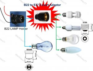 B22 to E27 Lamp Holder Adaptor Socket-Convert Pin Type Bulb to Screw Type Bulb (HOSE222)