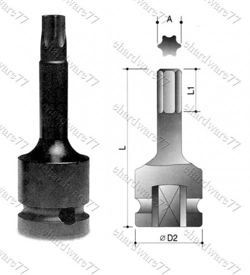 """1/2"""" DR Torx Impact Socket T60x75mmL (64722060)"""