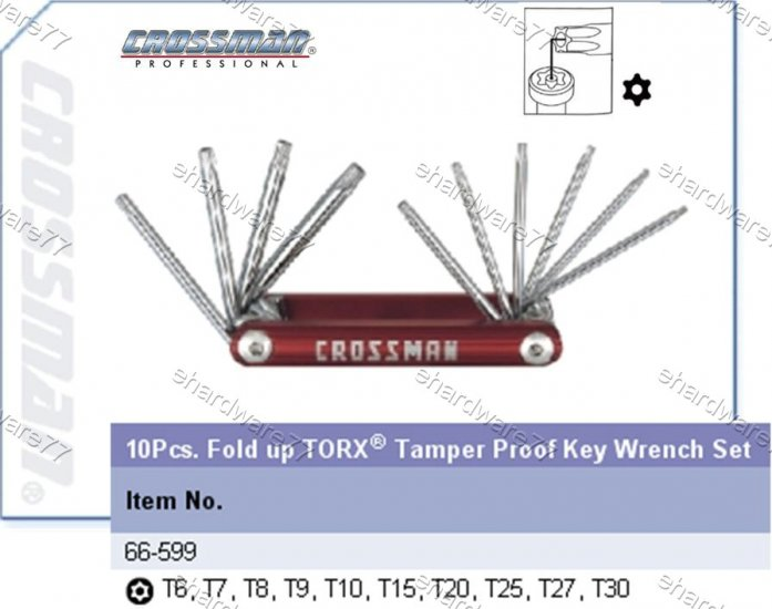 CROSSMAN 10Pcs Fold up TORX Wrench Set