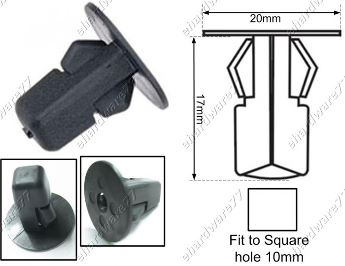 TOYOTA Fender Square Clips 10mm (RD32)