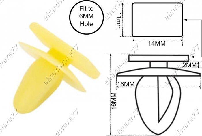 MITSUBISHI Pedal Plastic Clips 6.0MM (RD34) (200pcs)