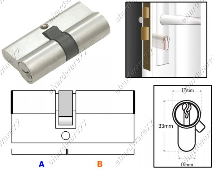 Euro Profile Double Side Cylinder Lock 70mm (SGDC70SN)