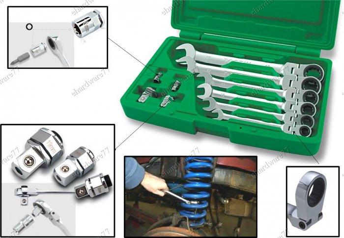 TOPTUL 10Pcs Flexible Ratchet Combination Wrench Set (GAAI1003)