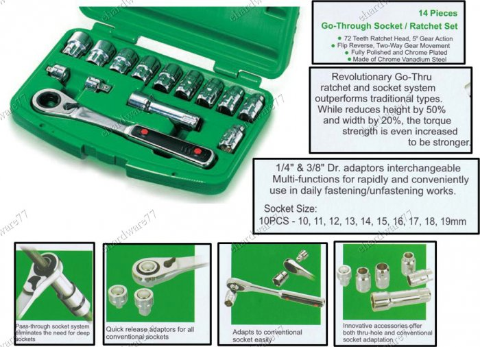 "Toptul 14Pcs 3/8"" DR. Pass-Thru Socket Set (GCAI1401)"