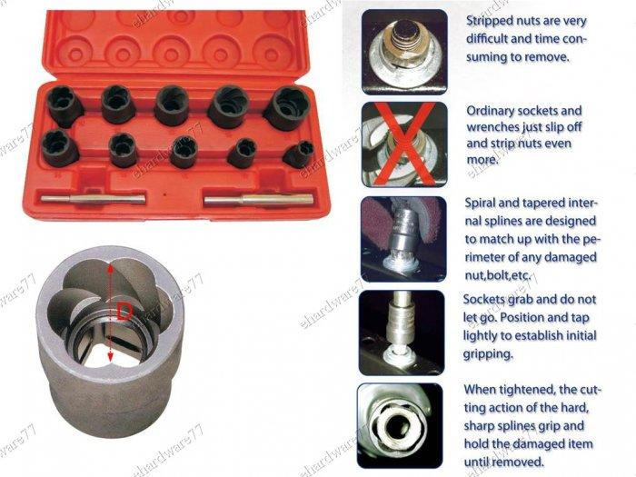 12Pcs Twist Socket Fastener Removal System Set (1321)