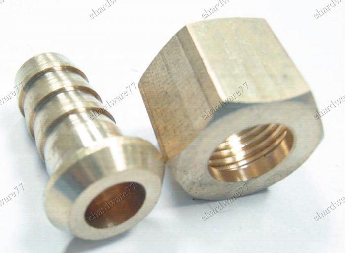 """Brass Swivel Nut & Tail - 1/4"""" Hose Tail x 3/8""""F (BHC46)"""