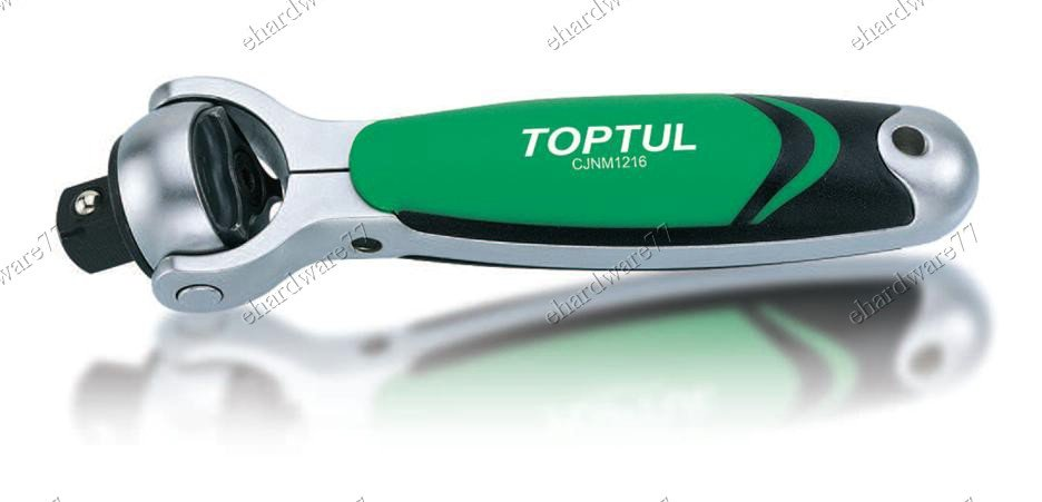 "TOPTUL STUBBY SWIVEL HEAD RATCHET HANDLE 1/2"" DR (CJNM1616)"