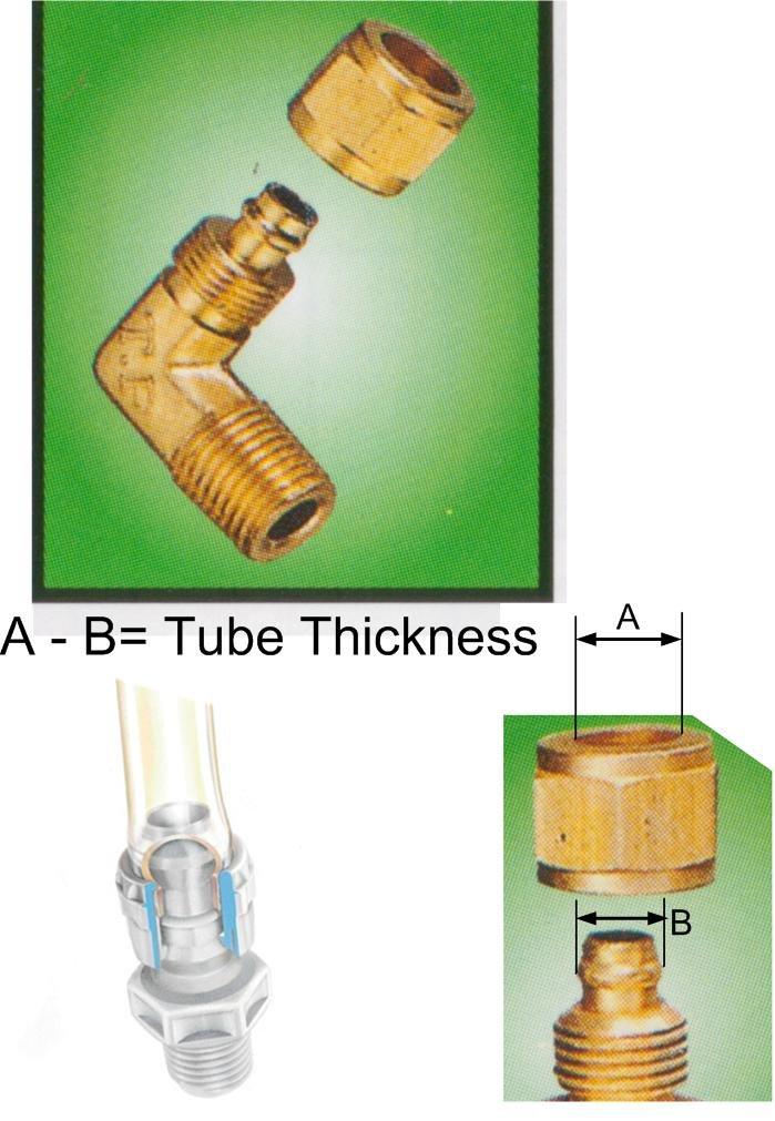 """Nylon Tube Brass Fitting 1/4""""OD Tube x 1/2"""" BSPT Male (DLB24)"""