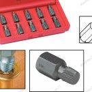10Pcs Hex Head Multi Spline Screw Extractor Kit (50DS510)