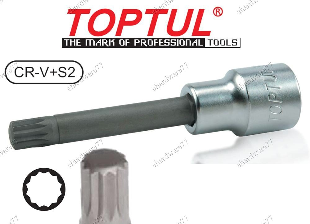 "TOPTUL LONG TRIPLE SQUARE 1/2""DR BIT SOCKET M12x100mmL (BCJD1612)"