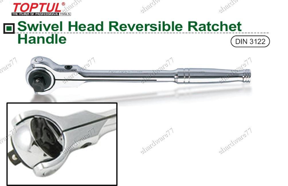 "TOPTUL Swivel Head Reversible Ratchet Handle 1/2""DR (CYAN1629)"